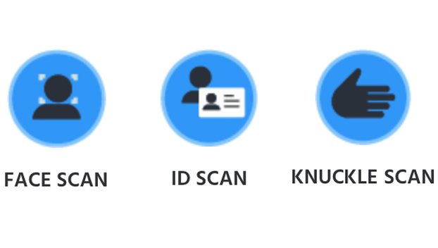 face, ID, and knuckle scans